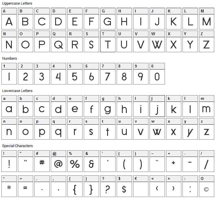 SF Old Republic Font Character Map