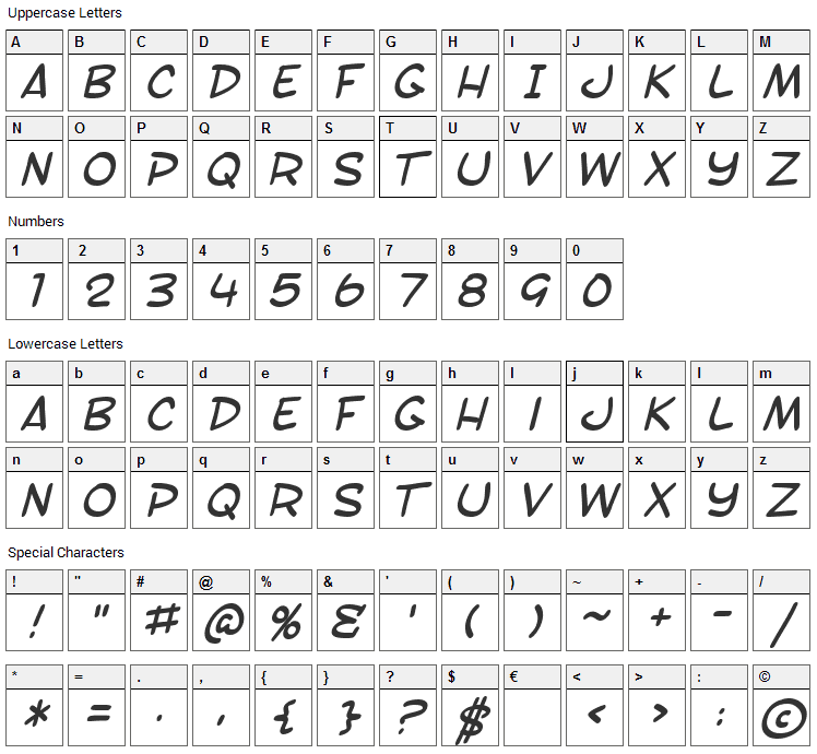 SF Toontime Font Character Map