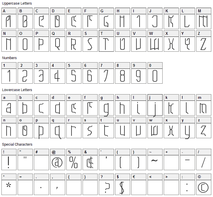 Sfilth Font Character Map
