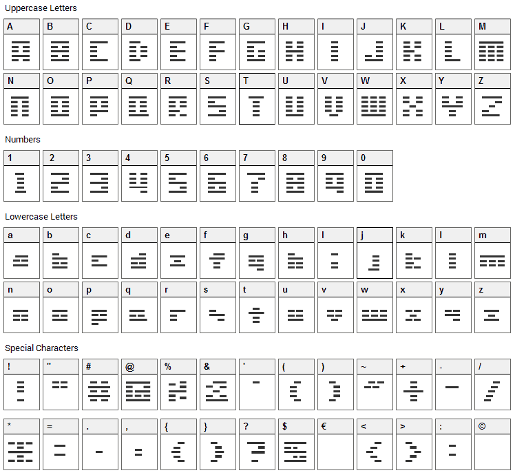 SG01 Font Character Map