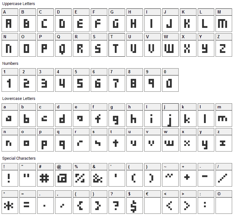 SG03 Font Character Map