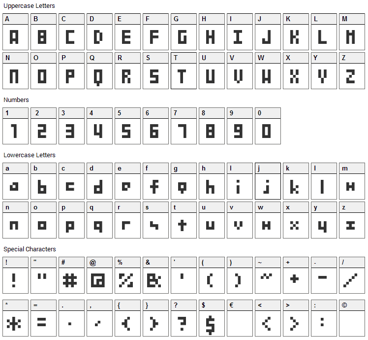 SG04 Font Character Map