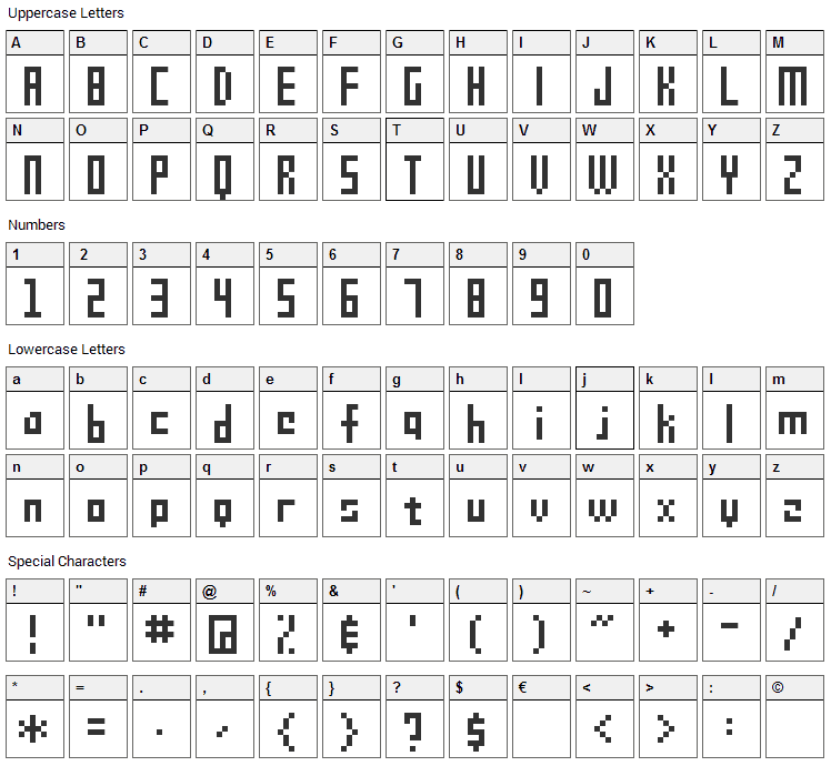 SG09 Font Character Map