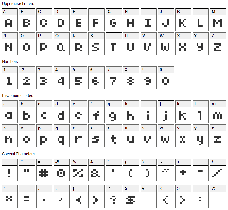 SG10 Font Character Map