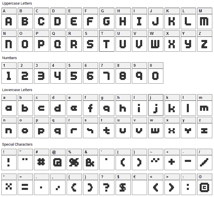 SG12 Font Character Map