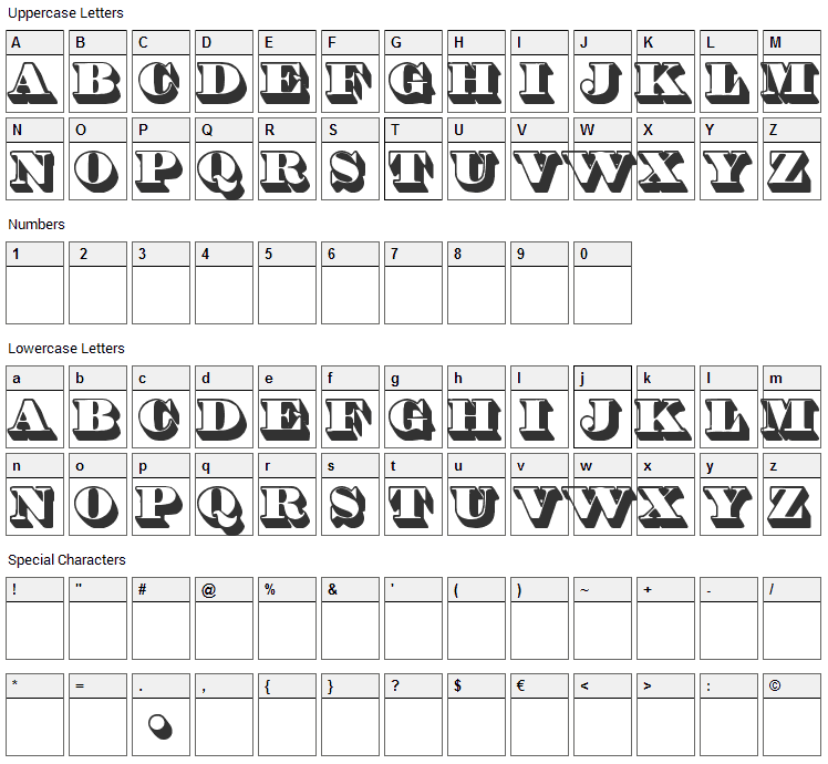 Shadded Font Character Map