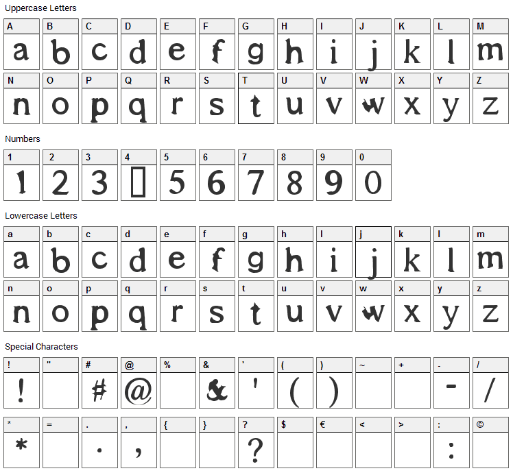 Shadows Around Us Font Character Map