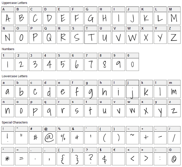 Shadows Into Light Font Character Map