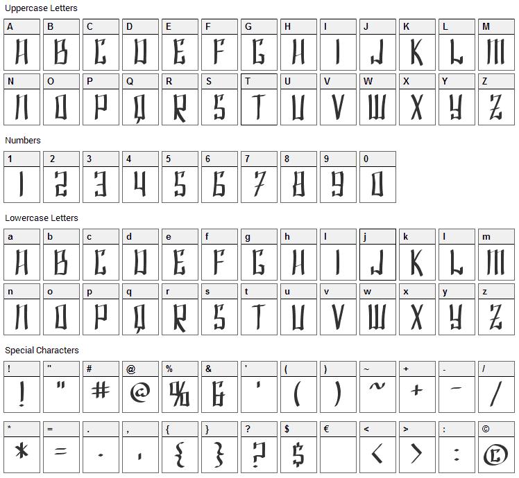 Shai Fontai Font Character Map