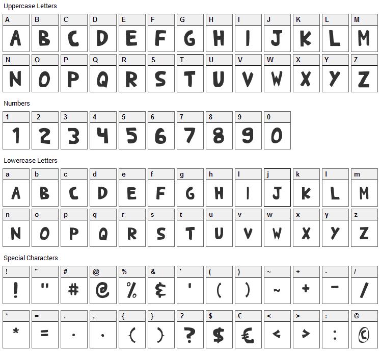 Shark Heavy ABC Font Character Map