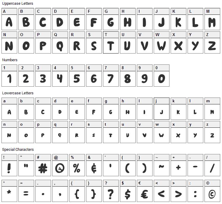 Shark Soft Bites Font Character Map