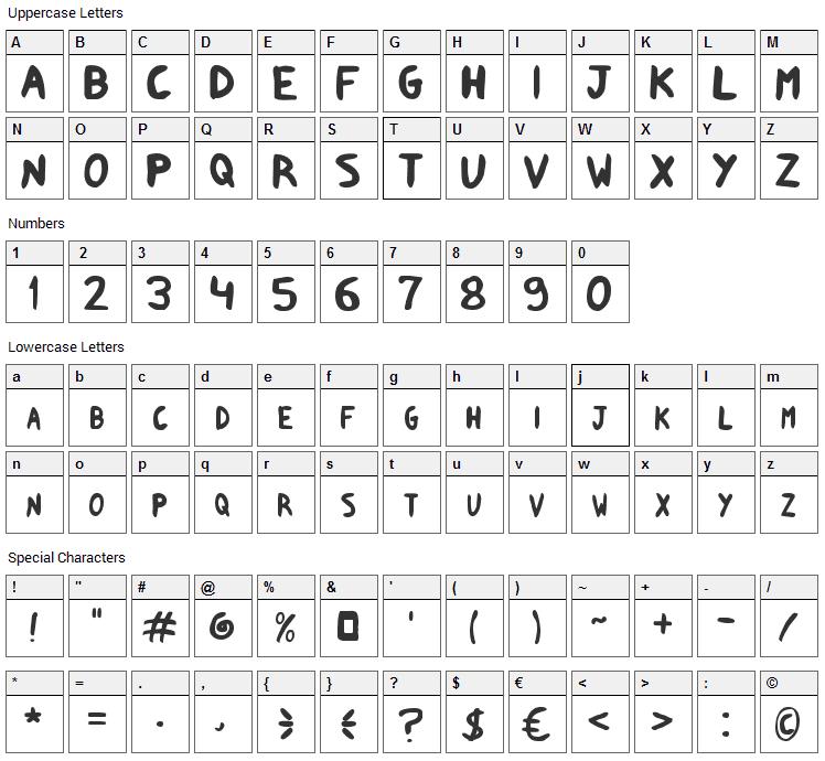 Shark Supah FX Font Character Map