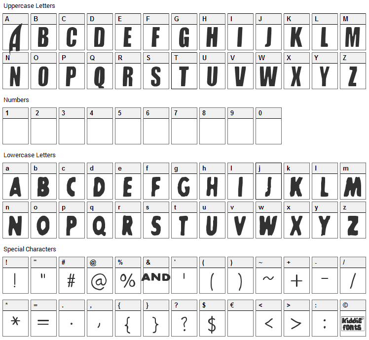 SharkBoy and LavaGirl Font Character Map