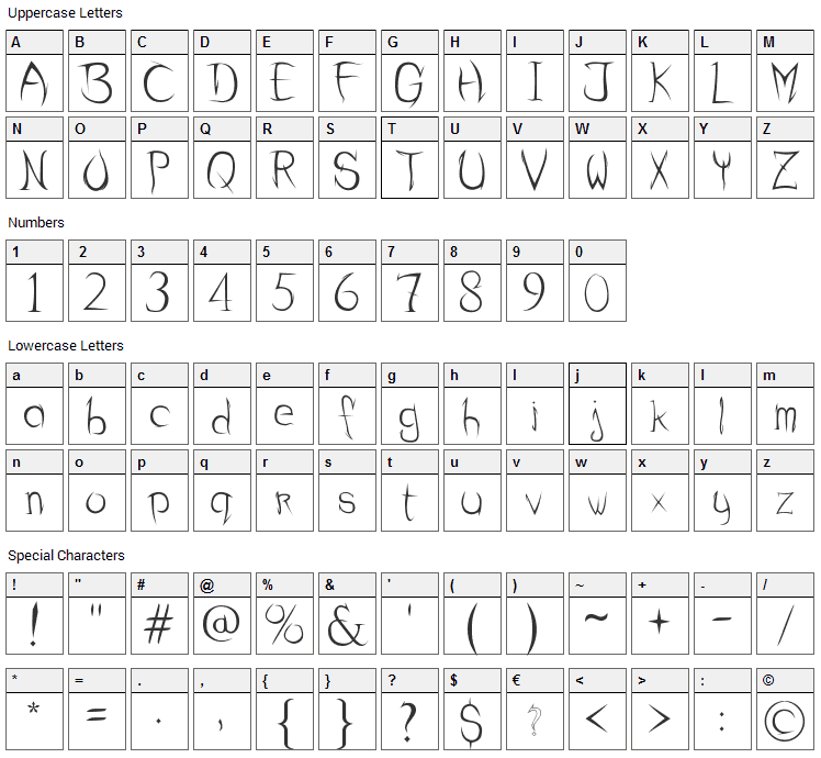 Sharp Curve Font Character Map