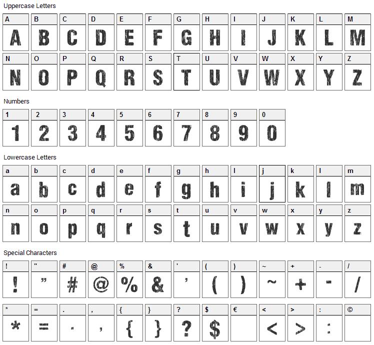 Sharp Distress Black Font Character Map