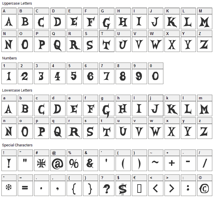 She Creature Font Character Map