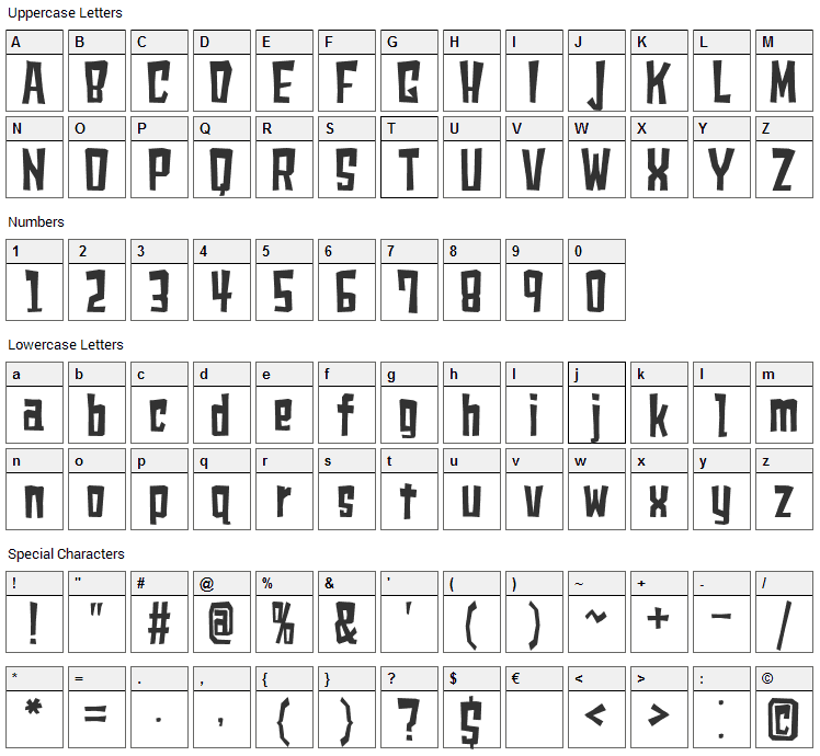 Shears Font Character Map
