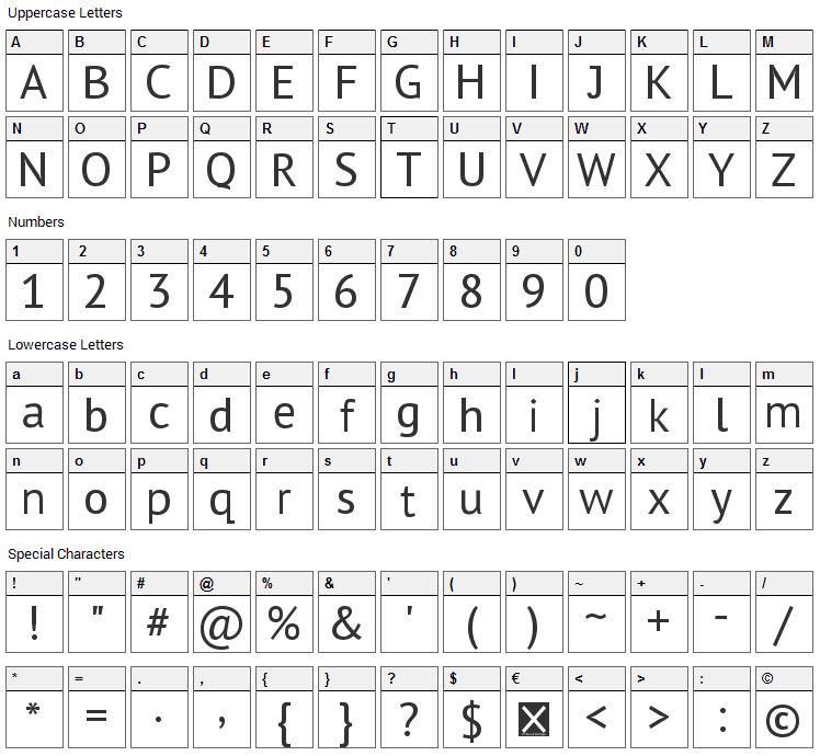 Sheep Sans Font Character Map