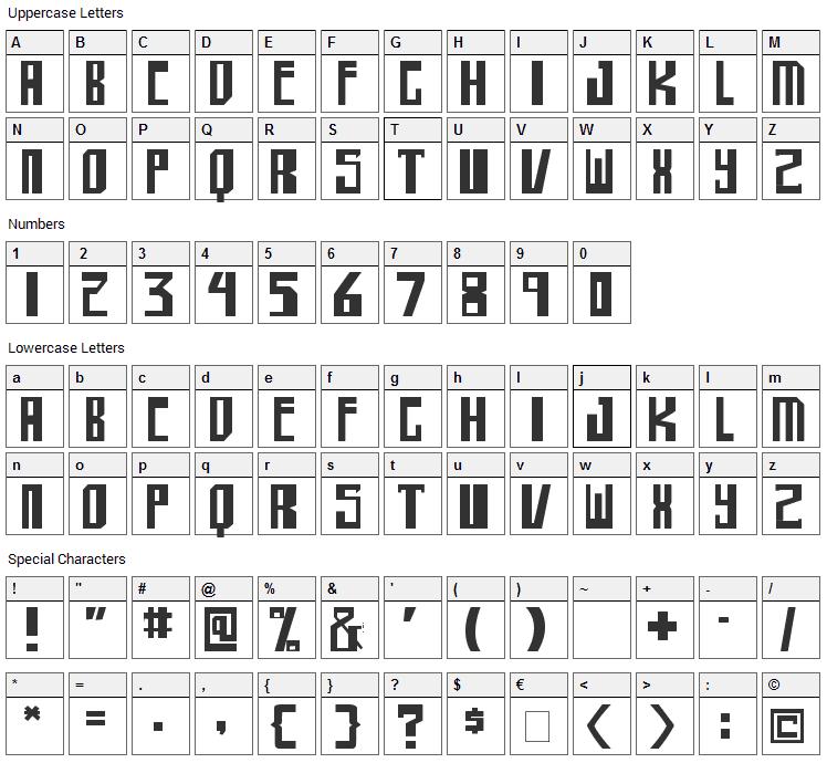 Shellhead Font Character Map