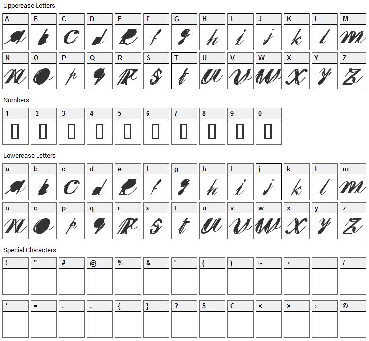 Sherley XXX Font Character Map