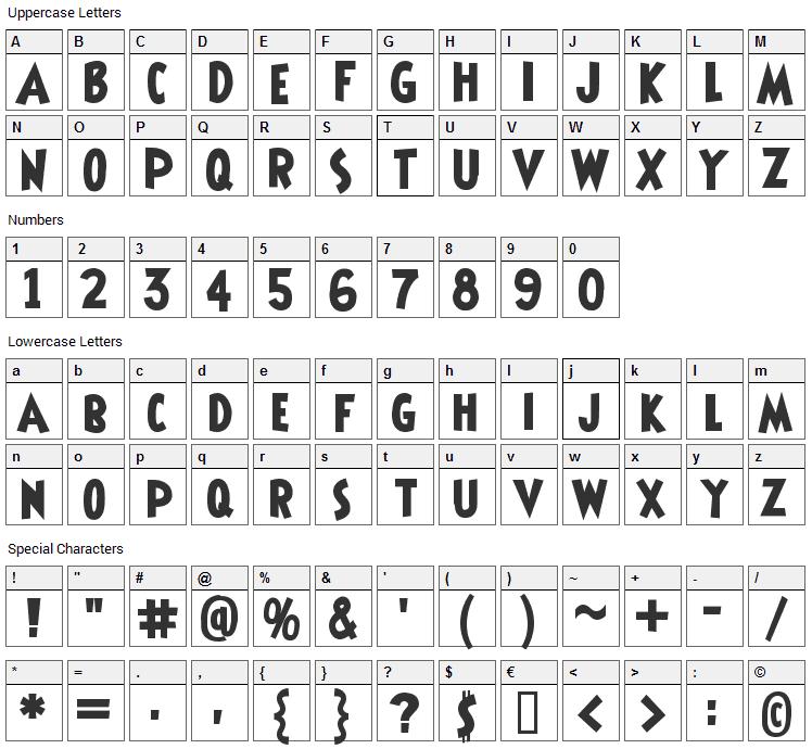 Shermlock Font Character Map