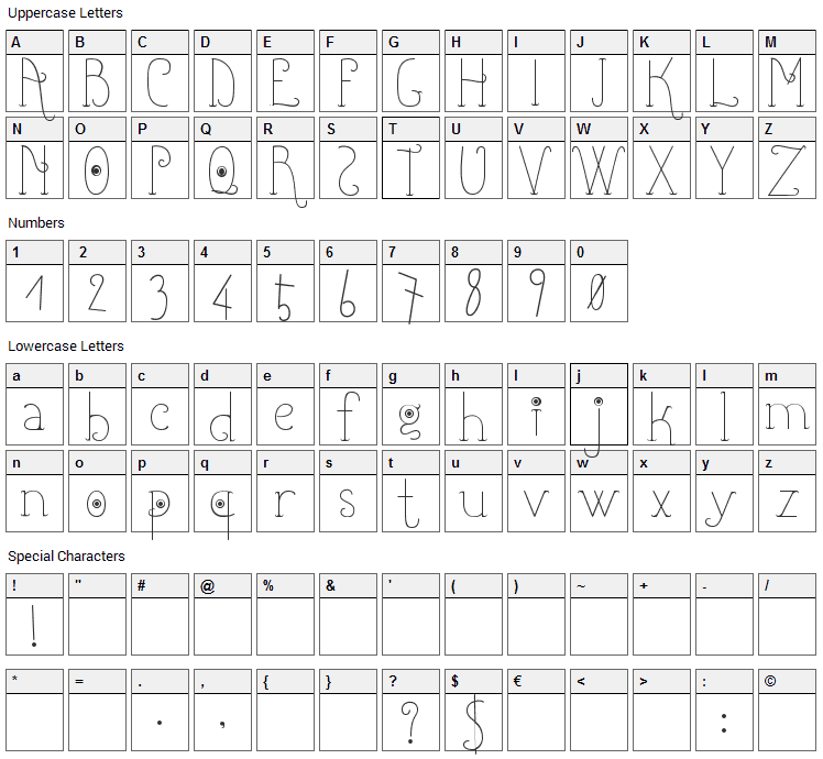 Shicoo Font Character Map