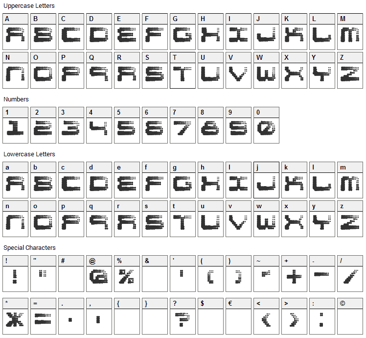 Shift Font Character Map