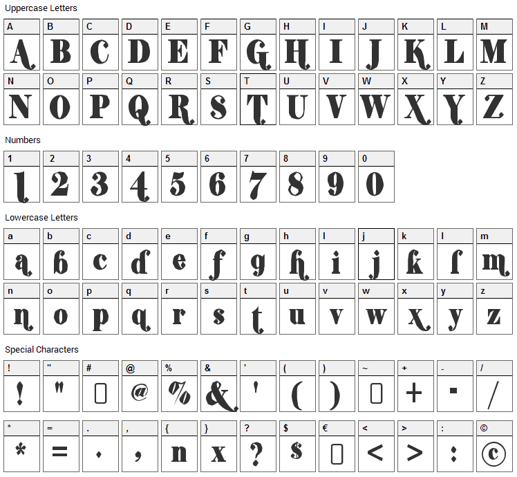 Shifty Chica 2 Font Character Map