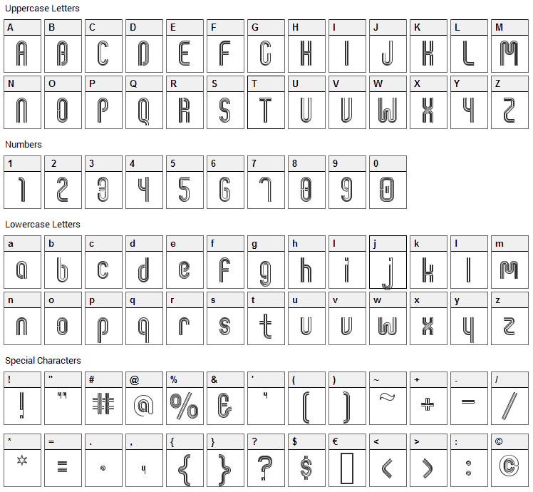 Shine On Font Character Map