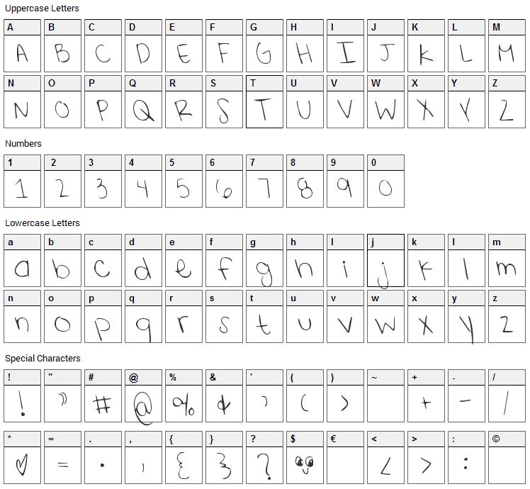 Shining Like Stars Font Character Map