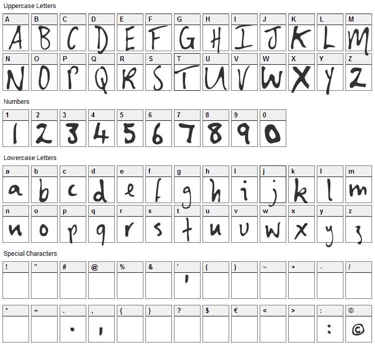 Shirley Font Character Map
