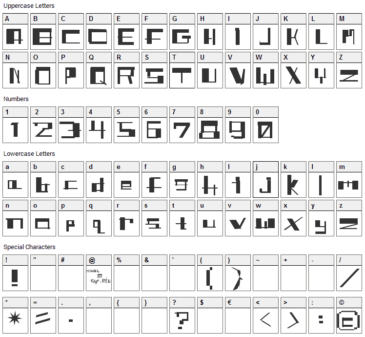Shit Font Character Map