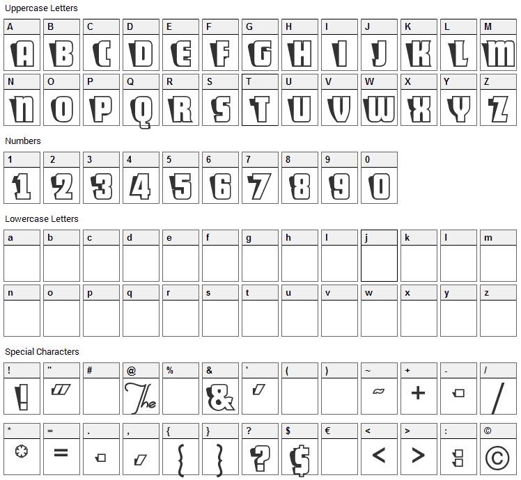 Sho-Card-Caps Font Character Map