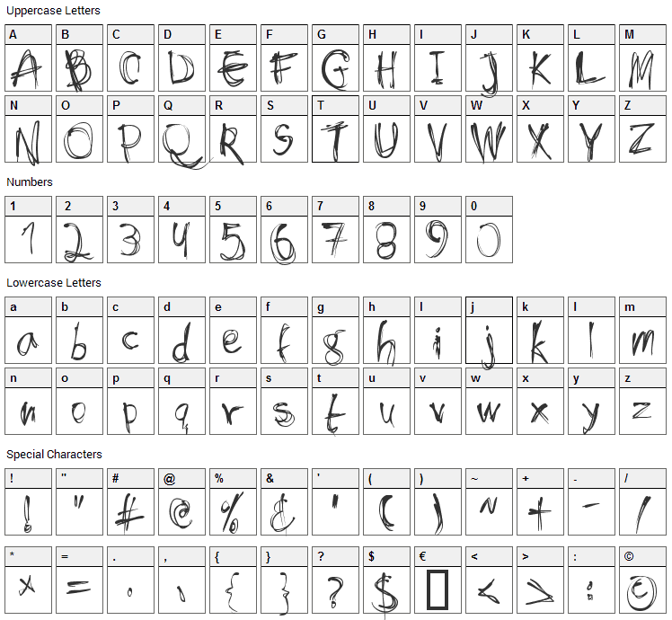 Shockheaded Font Character Map