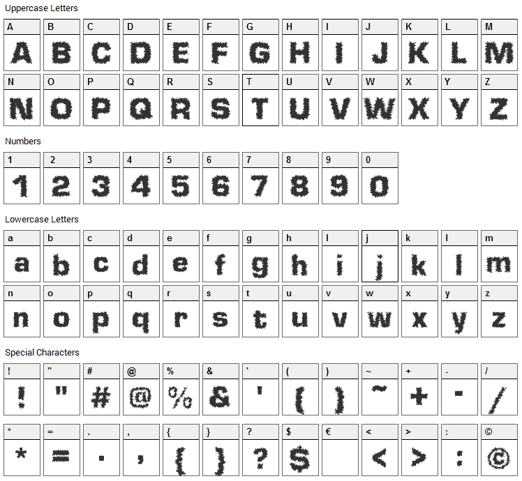 Shokkking Black Font Character Map