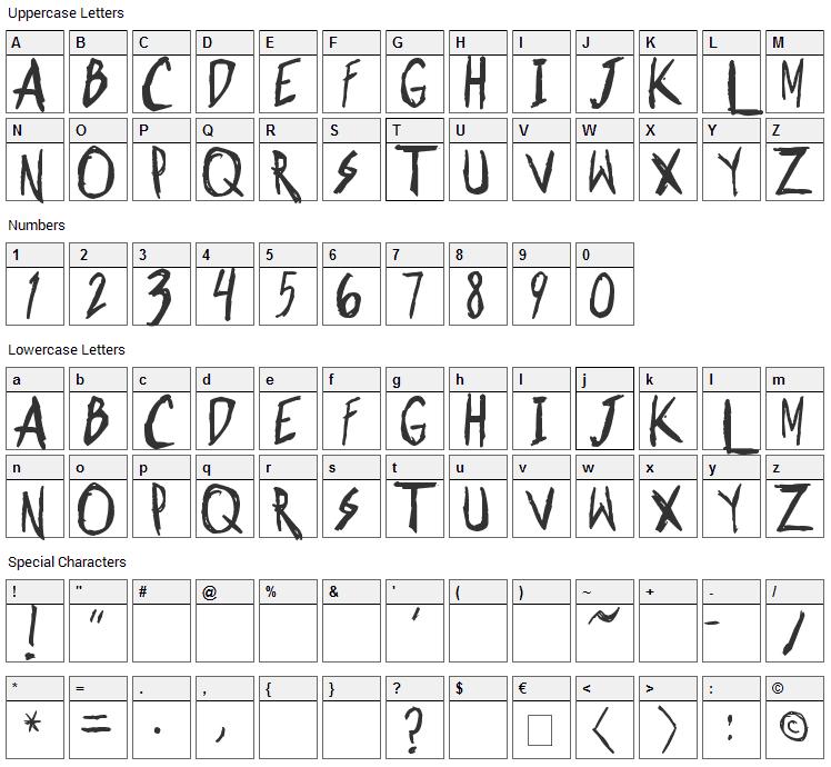 Shonen Punk Font Character Map