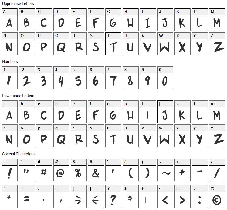 Shonen Punk v2 Font Character Map