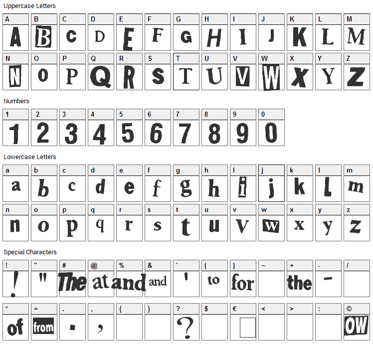 Shoplifter Font Character Map