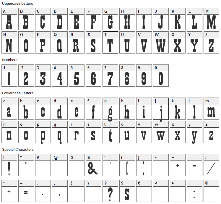 Showguide Font Character Map