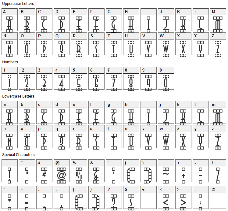 Showtime Font Character Map
