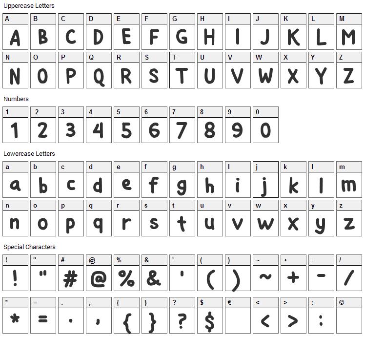 Si Kancil Font Character Map