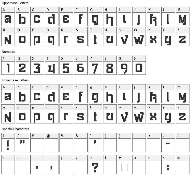 Siamese Katsong Font Character Map