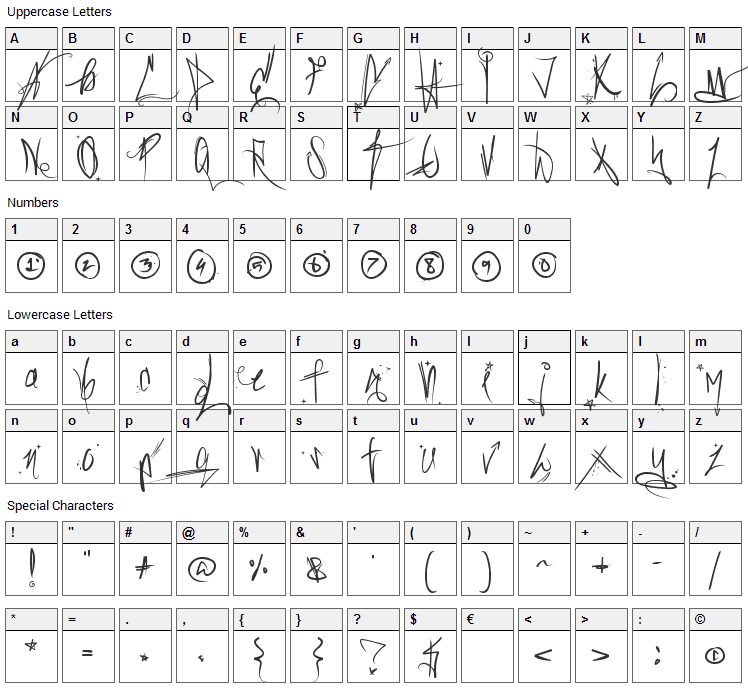 Sick Capital Vice Font Character Map