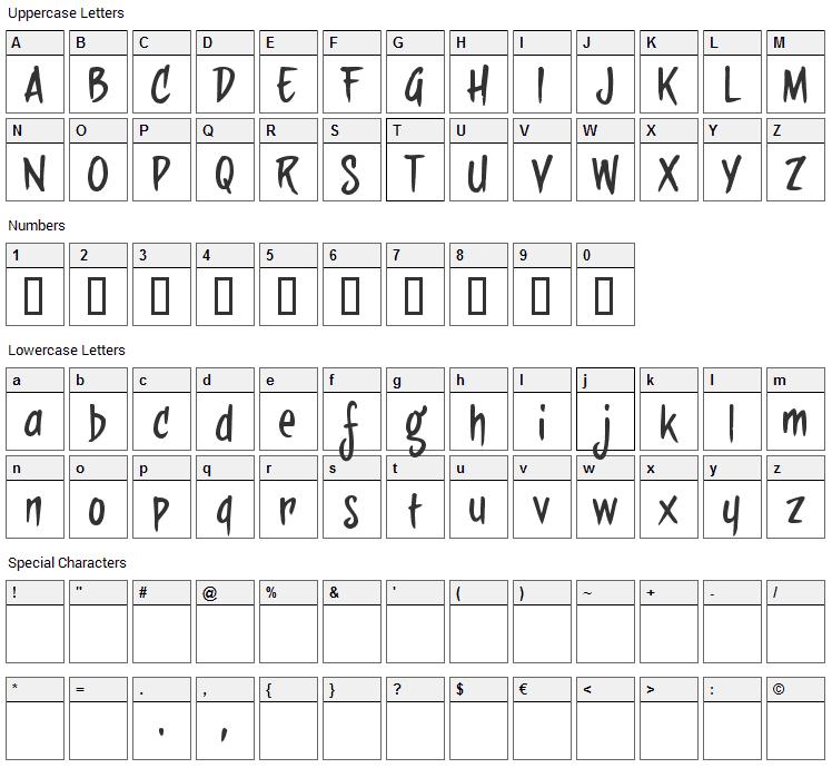 Sideburn Bob Font Character Map