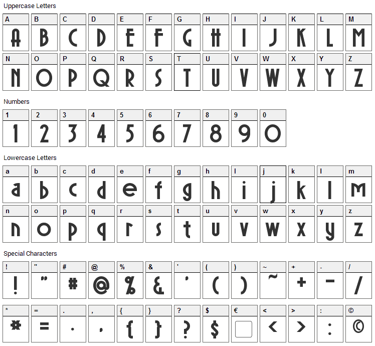 Sierra Madre Font Character Map
