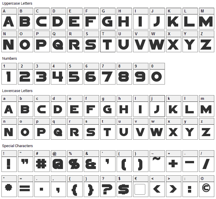 Sigma Five Font Character Map