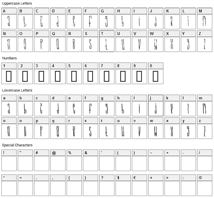 Signal to Noize Font Character Map