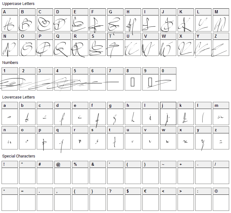 Signature two Font Character Map