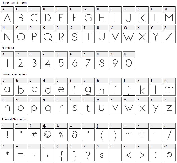 Signoria Font Character Map