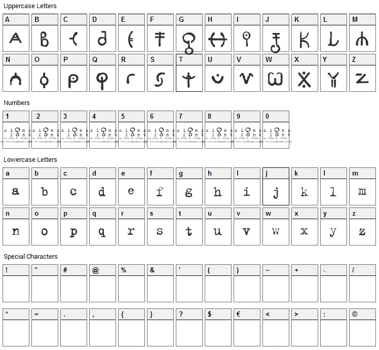 Signs Font Character Map